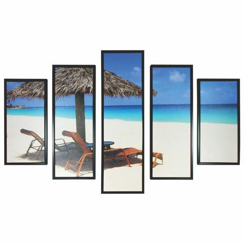 5 Piece Wooden Beach View Wall Decor with Shack and Benches,Multicolor
