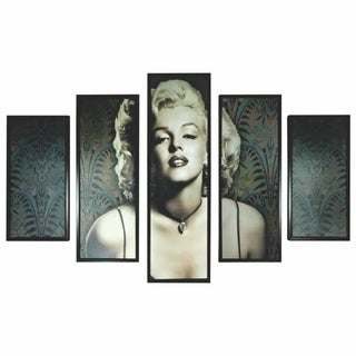 5 Piece Wooden Wall Decor with Marilyn Monroe Portrait,Black and White