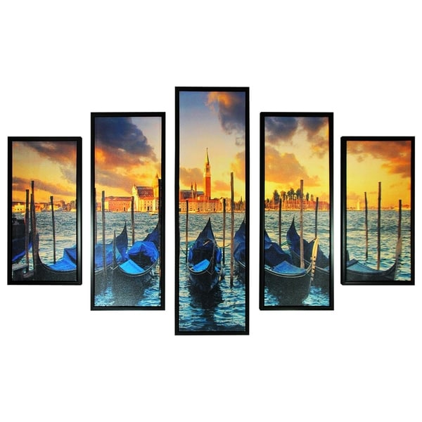 5 Piece Wooden Wall Decor with Venice City Coast Painting, Multicolor