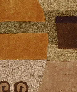 Safavieh Handmade Rodeo Drive Modern Abstract Beige Wool Rug (2'6 x 4'6) - Thumbnail 2