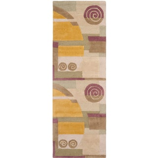 Safavieh Handmade Rodeo Drive Ralda Mid-Century Modern Abstract Wool Rug (26 x 8 Runner - Beige)