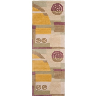 Safavieh Handmade Rodeo Drive Ralda Mid-Century Modern Abstract Wool Rug (26 x 10 Runner - Beige)