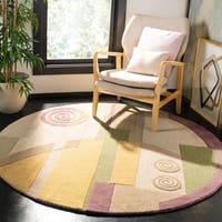 "Safavieh Handmade Rodeo Drive Modern Abstract Beige Wool Rug - 5'9"" x 5'9"" round"