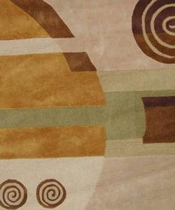 Safavieh Handmade Rodeo Drive Modern Abstract Beige Wool Rug (7'9 Round) - Thumbnail 1