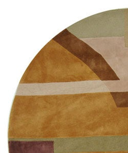 Safavieh Handmade Rodeo Drive Modern Abstract Beige Wool Rug (7'9 Round) - Thumbnail 2