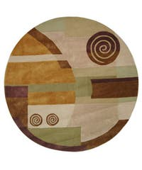 Safavieh Handmade Rodeo Drive Modern Abstract Beige Wool Rug (7'9 Round) - 7'9 Round