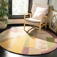 "Safavieh Handmade Rodeo Drive Modern Abstract Beige Wool Rug - 7'9"" x 7'9"" round"