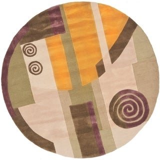 Safavieh Handmade Rodeo Drive Ralda Mid-Century Modern Abstract Wool Rug (79 x 79 Round - Beige)