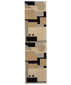 Safavieh Handmade Rodeo Drive Modern Abstract Ivory/ Grey Wool Runner Rug (2'6 x 12')