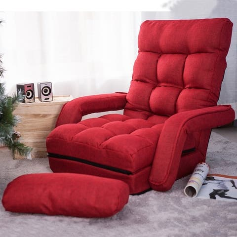 Folding Lazy Floor Chair Sofa Lounger Bed with Armrests and Pillow