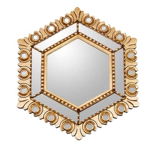 Handmade Majestic Hex Bronze Gilded Wood Mirror (Peru)