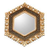 Handmade Magnificent Hex Bronze Gilded Wood Mirror (Peru)