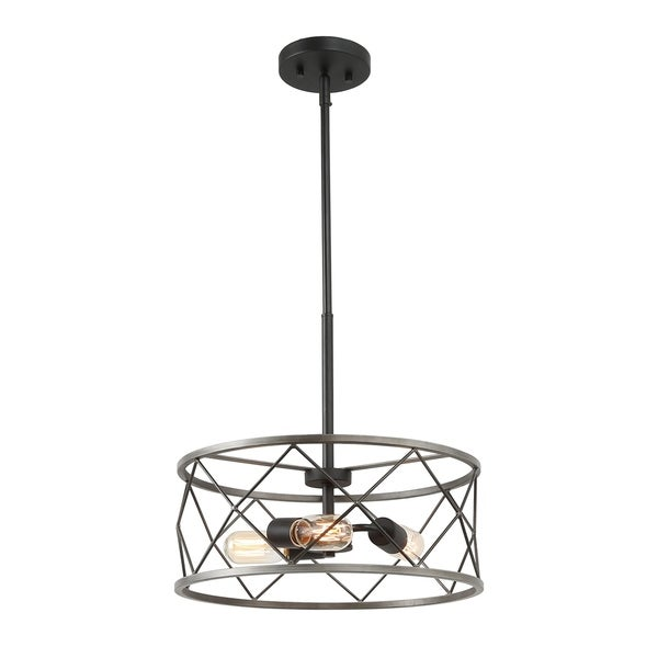 Drum Chandelier With 3 Lights Ceiling Pendant