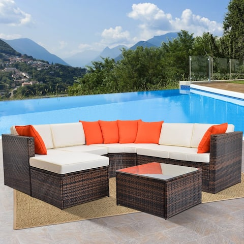 5-Piece Outdoor Sectional Wicker Furniture