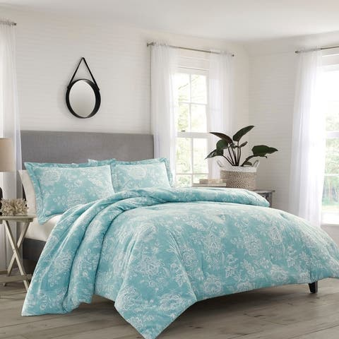 Relax by Tommy Bahama Tidewater Jacobean Aqua Duvet Cover Set