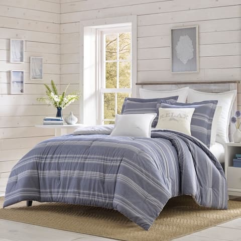 Relax by Tommy Bahama Chambray Stripe Navy Duvet Cover Set