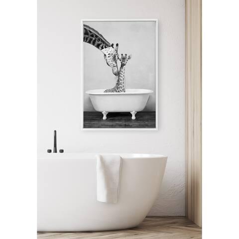 DesignOvation Sylvie Giraffe in Tub Framed Canvas by Amy Peterson