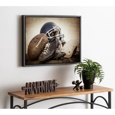 DesignOvation Sylvie Vintage Football Gear Canvas by Shawn St. Peter