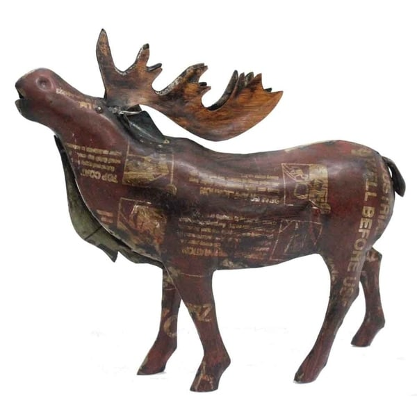 Modern Day Accents Alce Aullido Reclaimed Iron Moose