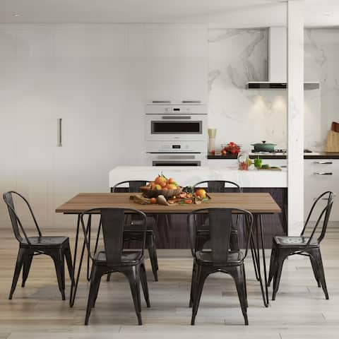 WYNDENHALL Freya SOLID MANGO WOOD and Metal 66 inchWide Industrial IV 7 Pc Dining Set with 6 Metal Dining Chairs