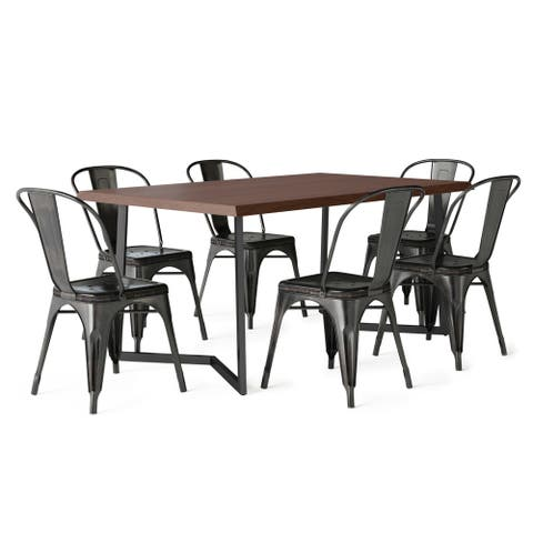 WYNDENHALL Freya SOLID MANGO WOOD and Metal 72 inchWide Industrial V 7 Pc Dining Set with 6 Metal Dining Chairs
