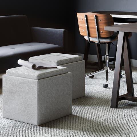 Porch & Den Pongratz Upholstered 17-inch Square Storage Ottoman