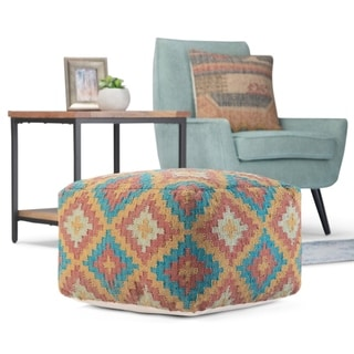 WYNDENHALL Moreau Transitional Square Pouf in Multi Color Kilim Pattern