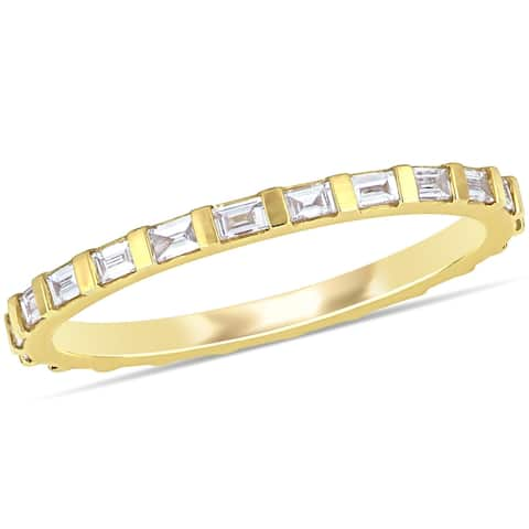 Miadora 14k Yellow Gold 2/5ct TDW Parallel Baguette-Cut Diamond Full Eternity Band