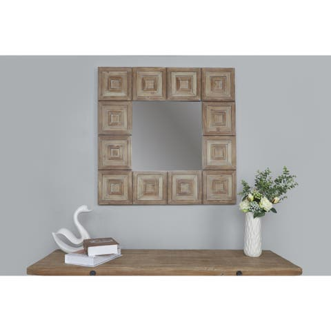 Wood Aztec Square Wall Mirror