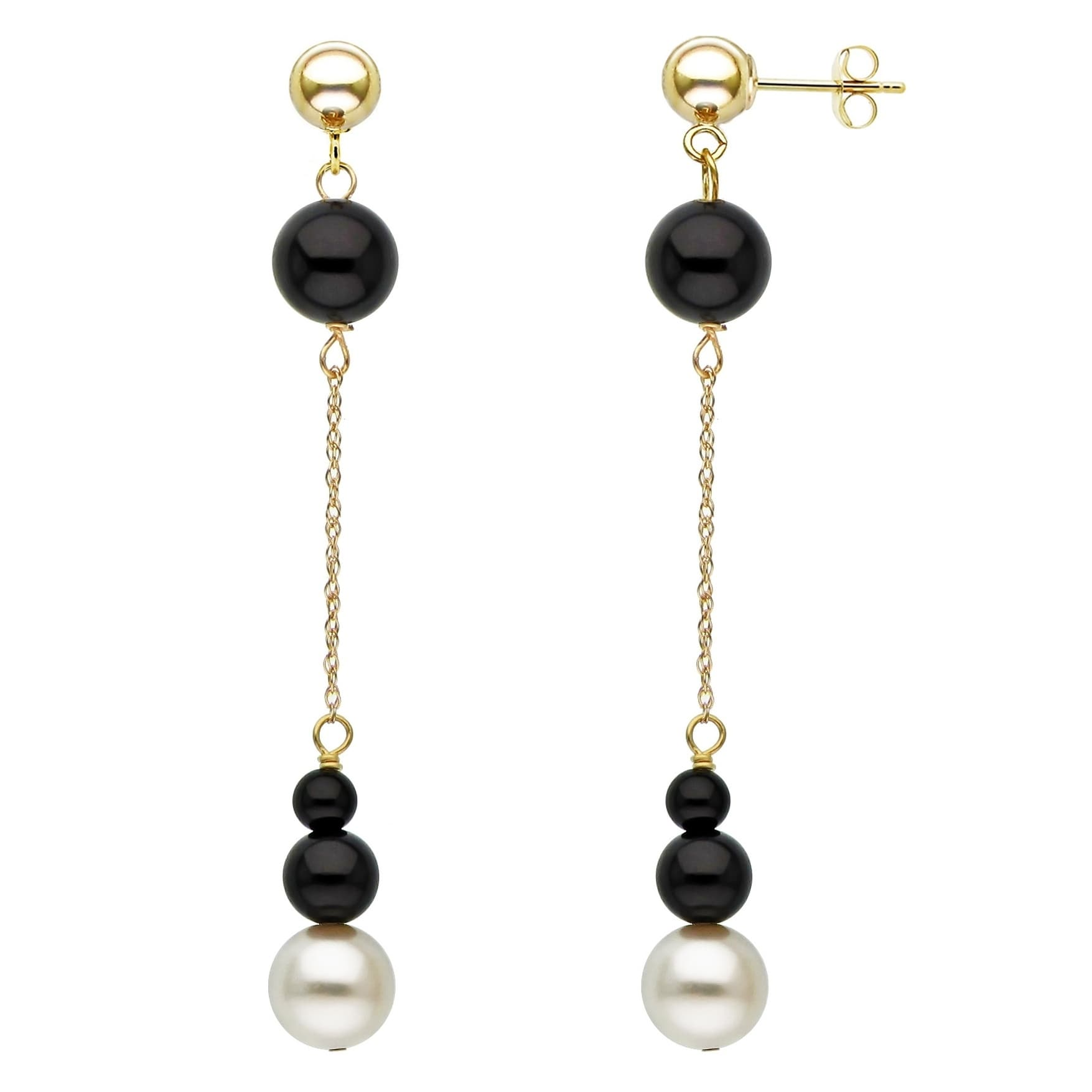 14K Solid Yellow Gold 8 mm Ball Shaped Onyx Leverback Dangle Drop Earrings