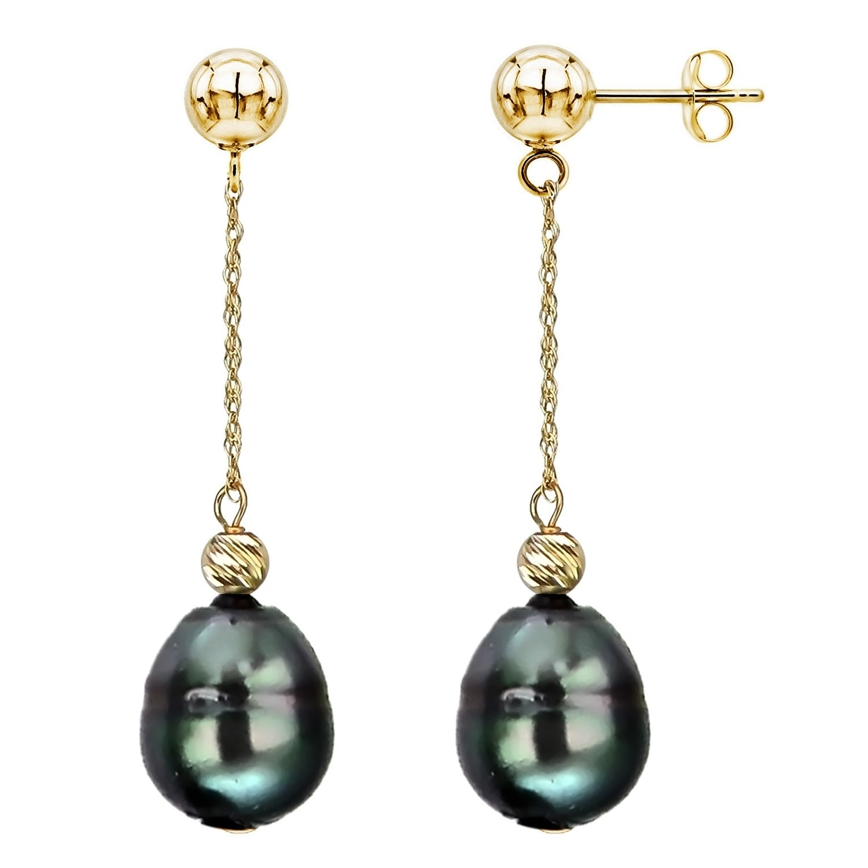New 10//12mm Tahitian Black South Sea Shell Pearl Silver Hook Dangle Earrings AAA