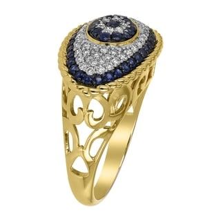 Link to 14k Yellow Gold 1 TDW Diamond and Blue Sapphire Eye Evil Ring by Beverly Hills Charm Similar Items in Bracelets