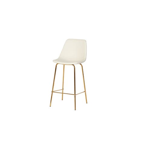 Chelsea Gold Counter Stool - White Leather