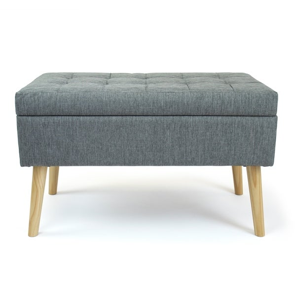 "Humble Crew Brooklyn 32"" Rectangular Gray Storage Fabric Ottoman Bench"