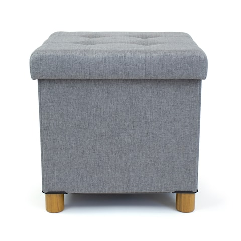 Humble Crew Collapsible Cube Storage Ottoman Foot Stool with Tray