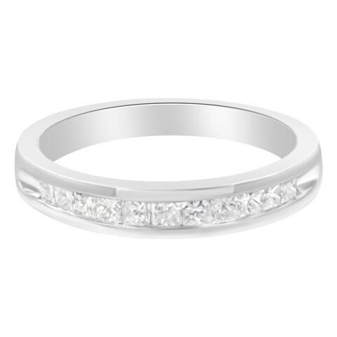 Sterling Silver 1/2 ct. TDW Diamond Wedding Band Ring (H-I, I2) - White H-I - White H-I