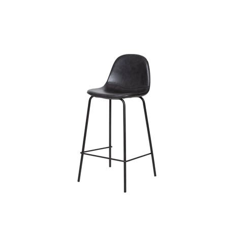 Chelsea Counter Stool in Black Leather