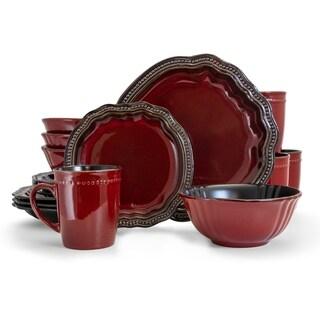 Elama Regency 16 Piece Stoneware Dinnerware Set in Red