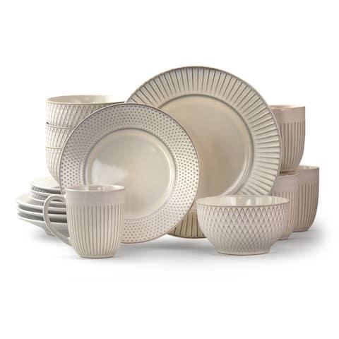 Elama Market Finds 16 Piece Stoneware Dinnerware Set in Embossed White