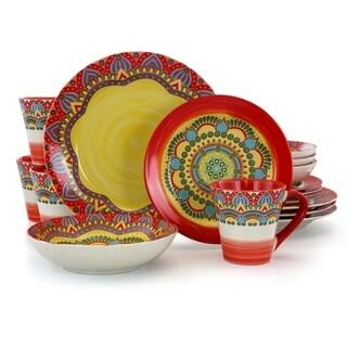 Elama Zen Red Mozaik 16 Piece Round Stoneware Dinnerware Set