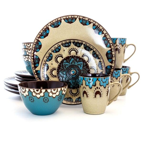 Elama Clay Hart 16 Piece Stoneware Dinnerware Set in Tan and Blue