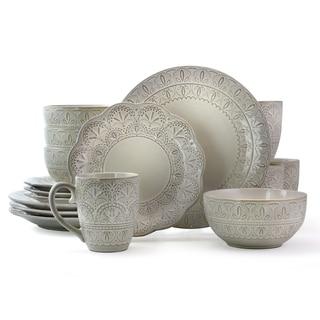 Elama White Lace 16 Piece Scallop Stoneware Dinnerware Set in White