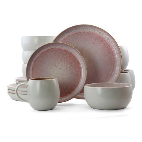 Elama Mocha Mauve 16 Piece Stoneware Dinnerware Set