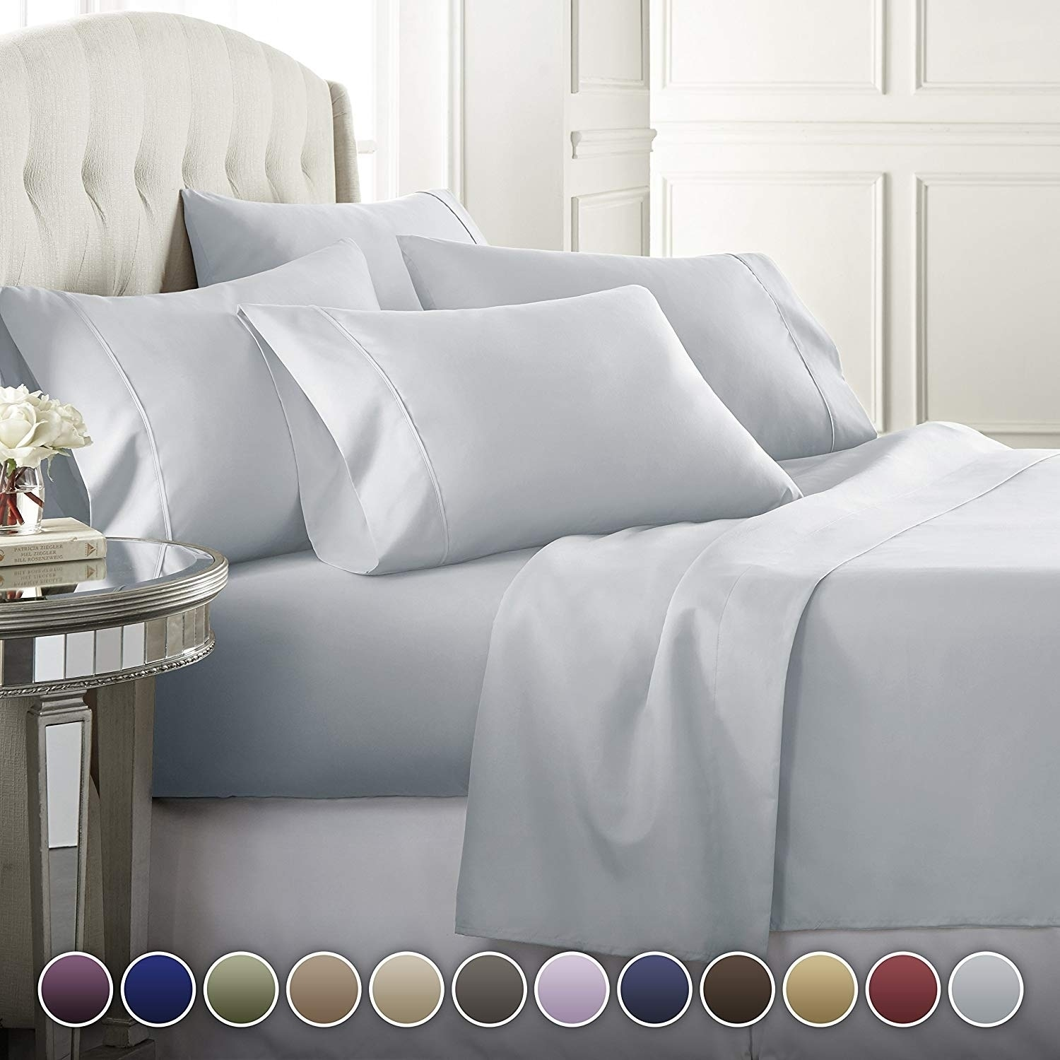 Hotel Luxury 4 Pcs Deep Pocket 1800 Count sheets Hotel Edition Bed Sheet Set 8H