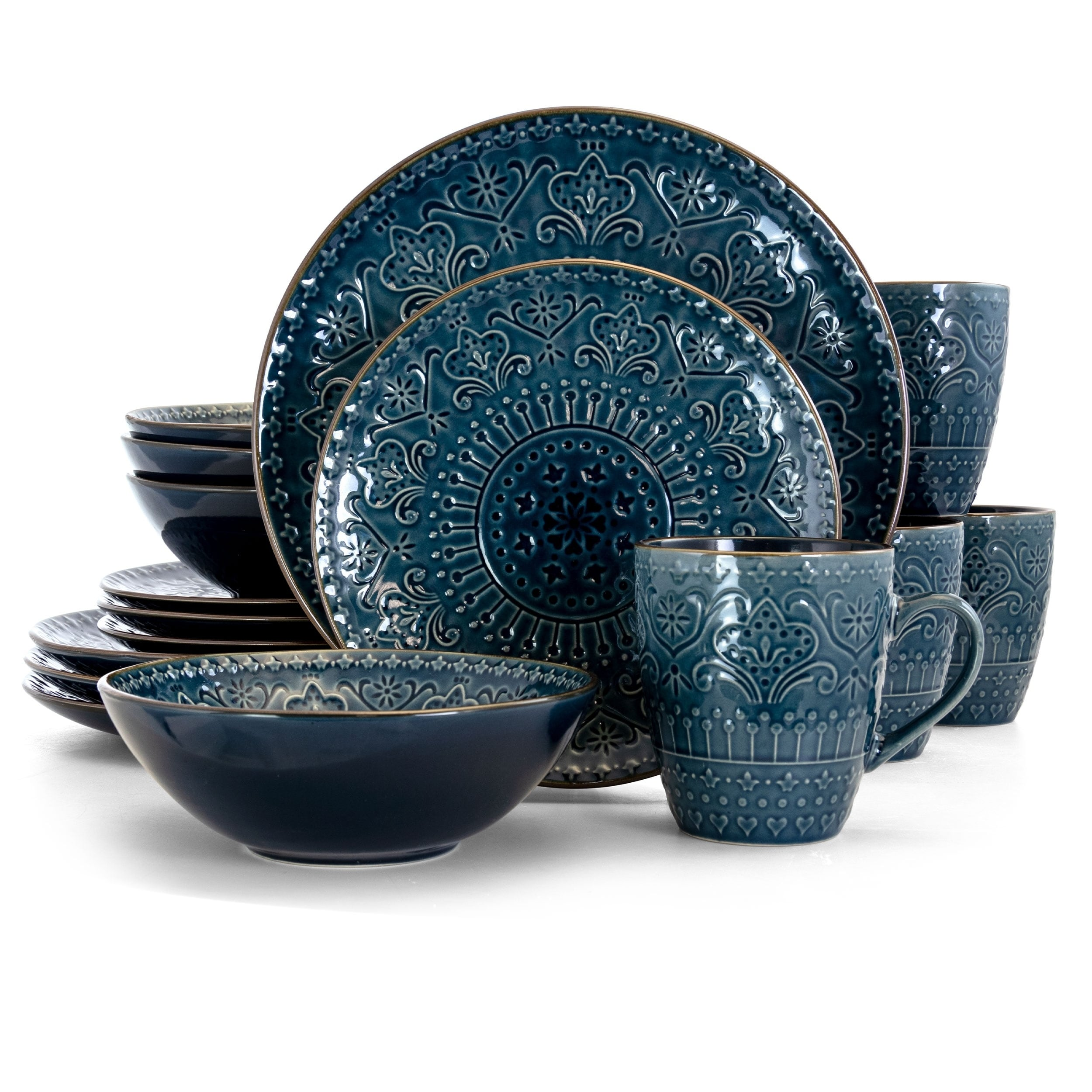 Shop Elama Deepsea Mozaic 16 Piece Round Stoneware Dinnerware Set