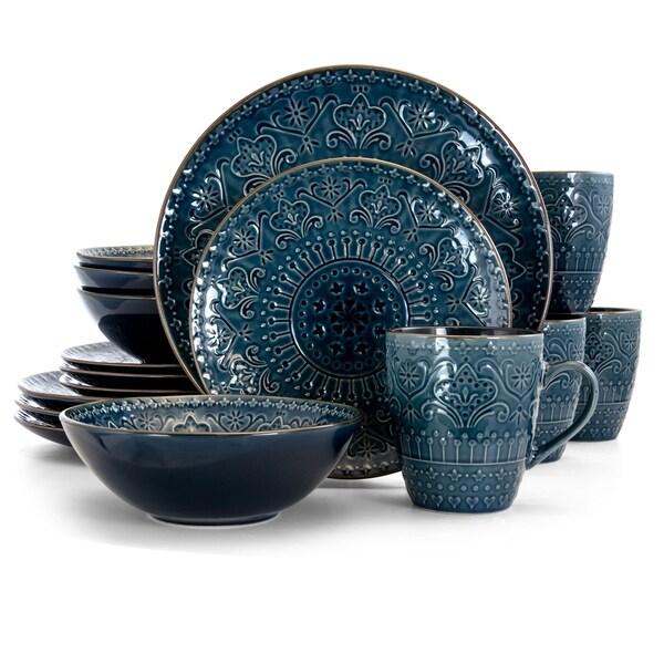 Elama Deepsea Mozaic 16 Piece Round Stoneware Dinnerware Set in Blue