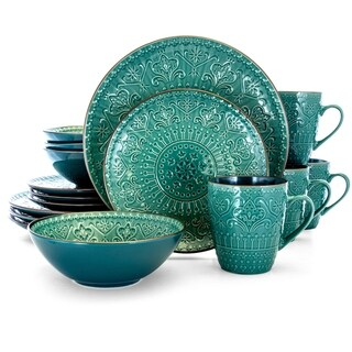 Elama Sea Foam Mozaic 16 Piece Round Stoneware Dinnerware Set in Green