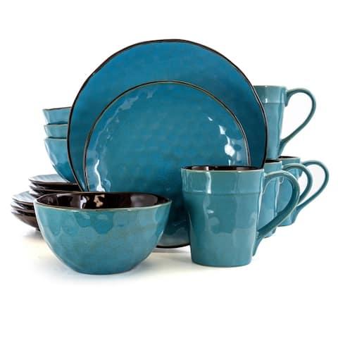 Elama Sea Glass 16 Piece Round Stoneware Dinnerware Set in Turquoise