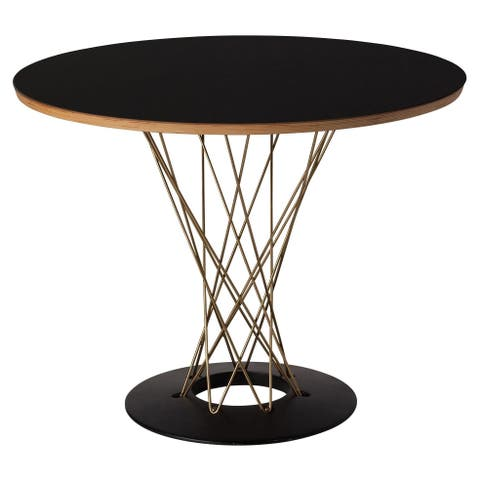 Nagoya Cyclone Dining Table in Black and Gold 42""