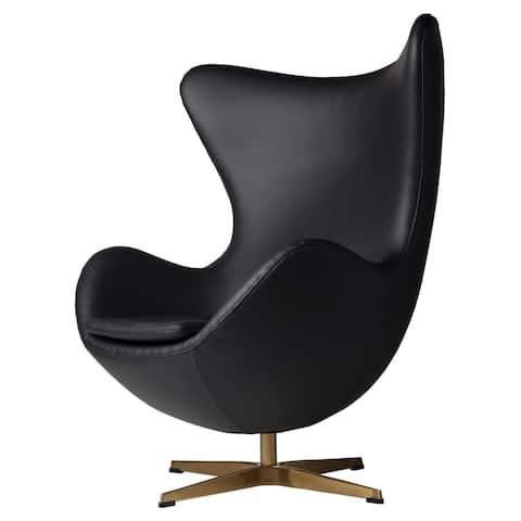 Strick & Bolton Warhol Black Leather Swivel Chair